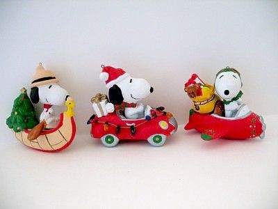 ADLER SNOOPY TRANSPORTATION ORNAMENT SET