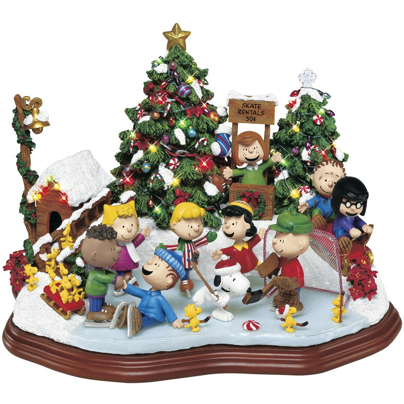 Danbury Mint Peanuts Lighted Christmas Skating Party Sculpture