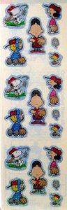 Peanuts Gang Baseball Glitter Stickers