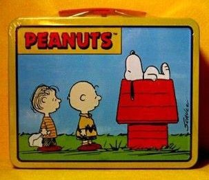 Charlie Brown, Linus, and Snoopy tin
