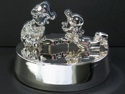 "Schroeder and Lucy Silverplated Music Box - Plays ""Fur Elise"""