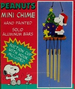 Santa Snoopy By Christmas Tree Wind Chime