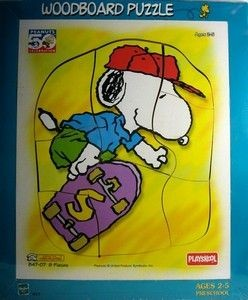 Snoopy Skateboarder Wood Puzzle