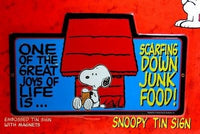 Snoopy Tin Wall Sign - Scarfing Down Junk Food