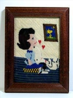 Lucy and Snoopy Framed Hand Stitched Needlepoint Picture