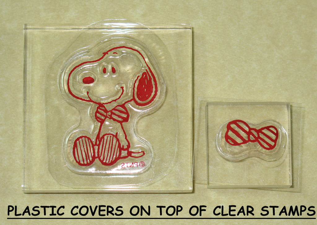 Peanuts Clear Vinyl Stamp Set On Thick Acrylic Blocks - Bow Tie Snoopy
