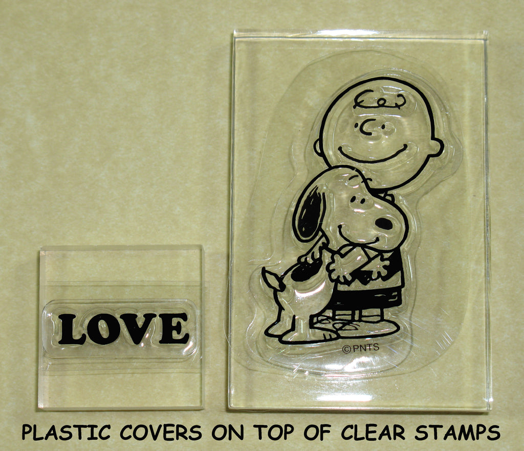 Peanuts Clear Vinyl Stamp Set On Thick Acrylic Blocks - Charlie Brown and Snoopy Love
