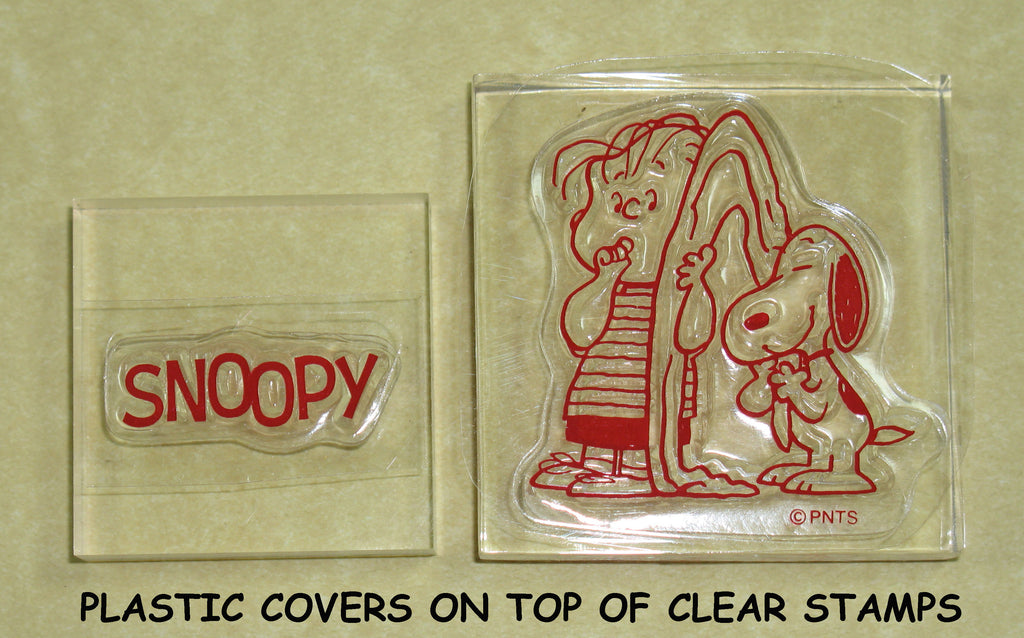 Peanuts Clear Vinyl Stamp Set On Thick Acrylic Blocks - Linus and Snoopy