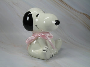 """Baby's First Bank"" Snoopy Bank - Pink"