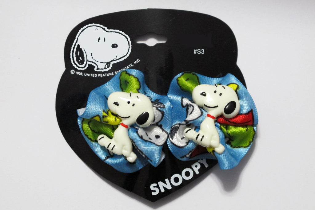 Snoopy Barrette With Satin Bows (2 Bows On 1 Barrette)
