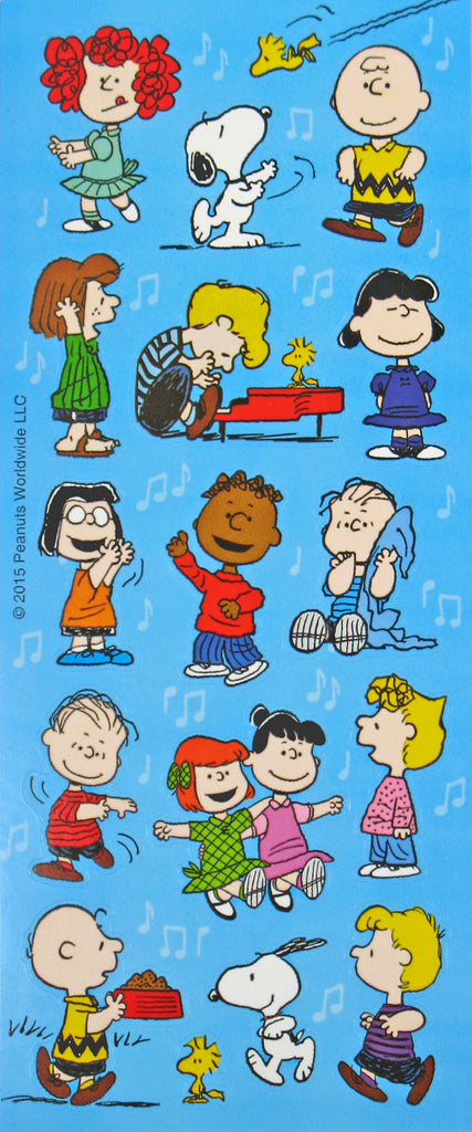 Peanuts Gang Dancing Stickers With Little Red Haired Girl