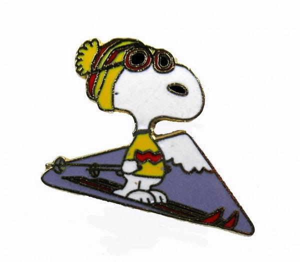 Snoopy Alpine Skier Cloisonne Pin