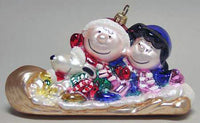 ADLER PEANUTS GANG ON TOBOGGAN  POLONAISE CHRISTMAS ORNAMENT