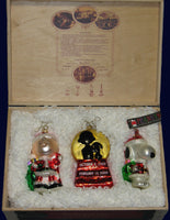 ADLER 40th ANNIVERSARY PEANUTS POLONAISE ORNAMENT SET IN DECORATIVE WOOD BOX - RARE!
