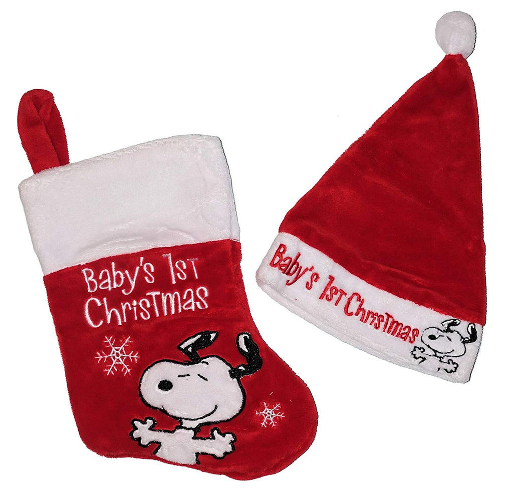 Snoopy Baby's First Christmas Plush Hat and Stocking Set