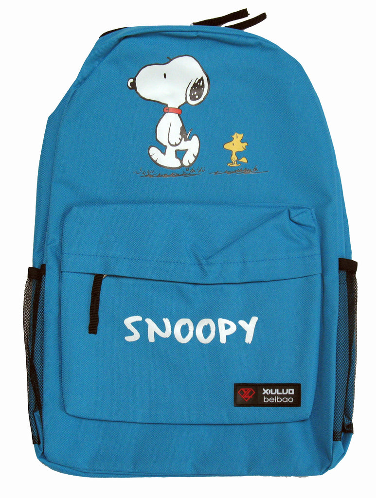 Snoopy and Woodstock Full-Size Nylon Canvas Backpack - Turquoise