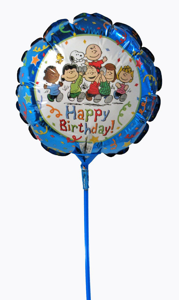 Peanuts Gang Pre-Inflated Mini Birthday Balloon On A Stick