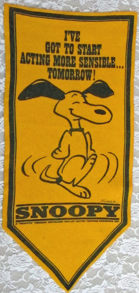 "SNOOPY Banner - ""I've Got To Start Acting More Sensible"""