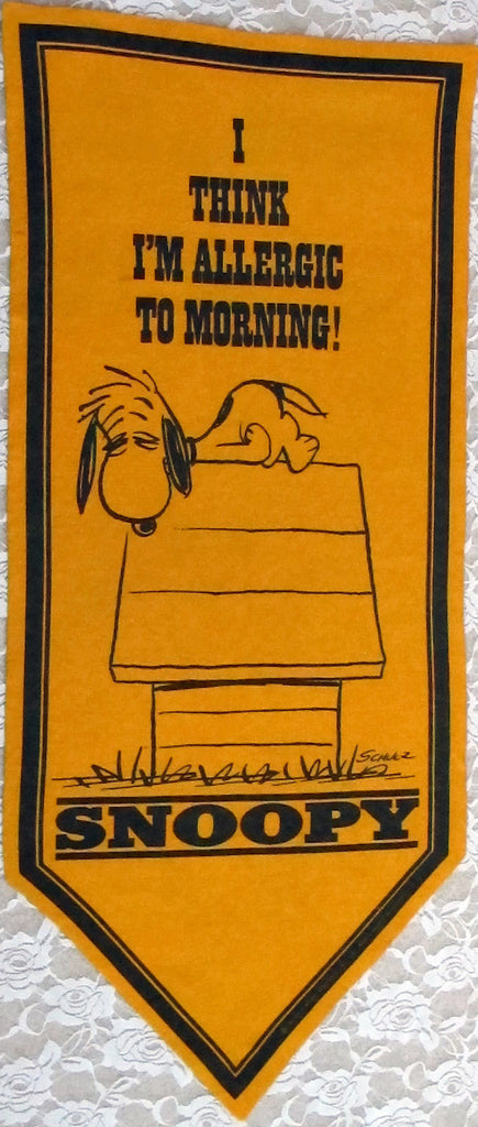 "SNOOPY Banner - ""I Think I'm Allergic To Morning"""