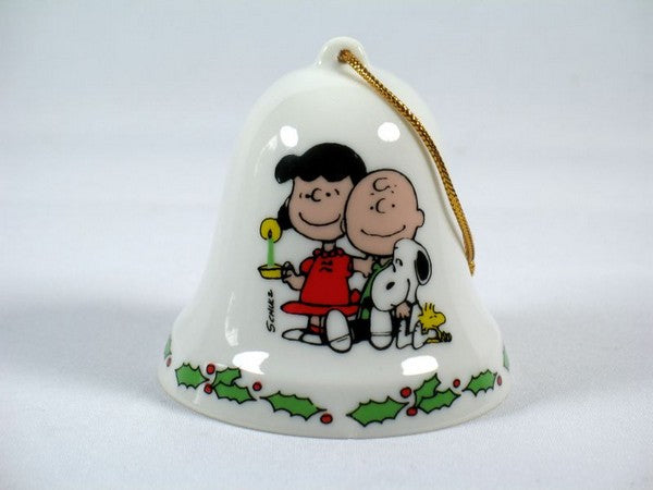 Snoopy Porcelain Christmas Bell Ornament - Candlelight