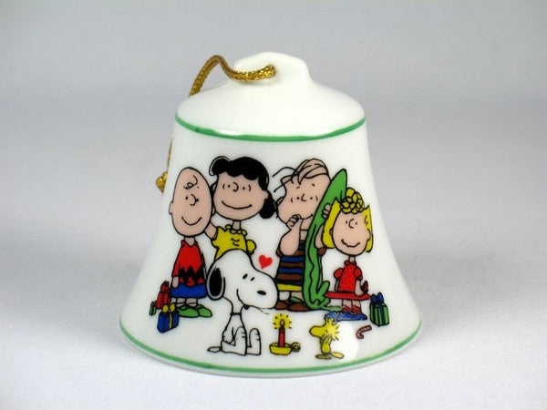 Snoopy Porcelain Christmas Bell Ornament - Happy Holidays 1977