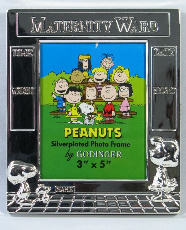 Peanuts Gang Baby's Birth Record Silver Plated Frame