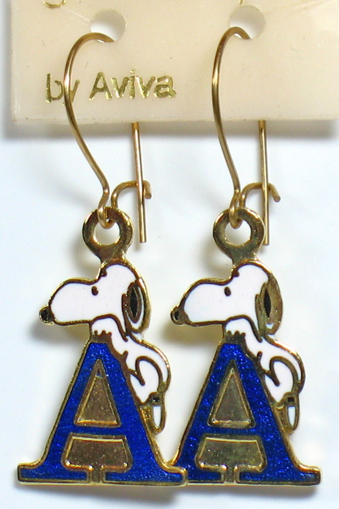 "Snoopy Alphabet Cloisonne Latch Back Earrings - Blue ""A"""