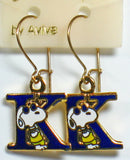 "Snoopy Alphabet Cloisonne Latch Back Earrings - Blue ""K"""