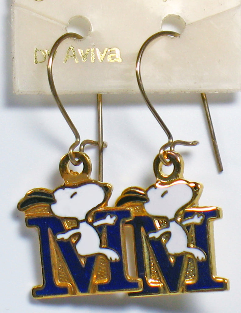 "Snoopy Alphabet Cloisonne Latch Back Earrings - Blue ""M"""