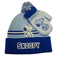 Snoopy Knit Hat and Mittens Set  - Blue