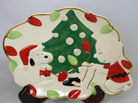 Snoopy's Christmas Canape Plate With 24K Gold Edging