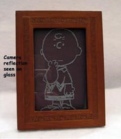Charlie Brown Etched Glass Framed Picture