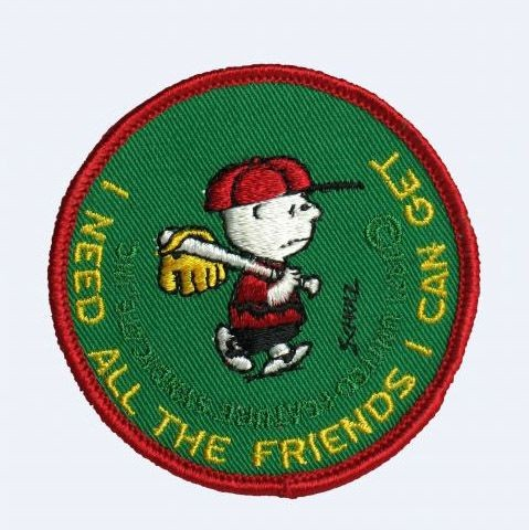 CHARLIE BROWN PATCH - I NEED ALL THE FRIENDS I CAN GET