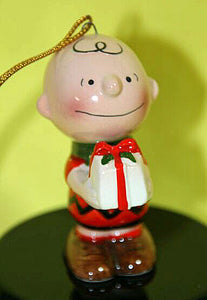 1975 Charlie Brown Holding Christmas Gift Ornament