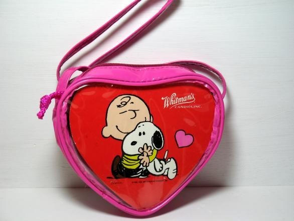 Charlie Brown and Snoopy Vinyl Heart Shoulder Purse - Special Low Price!