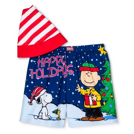 Charlie Brown and Snoopy Boxers With Santa Hat
