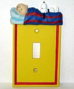 2-D Charlie Brown Bedtime Switch Plate Cover