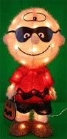 3-D Soft Lighted Tinsel Yard Art - Masked Charlie Brown Halloween - RARE!