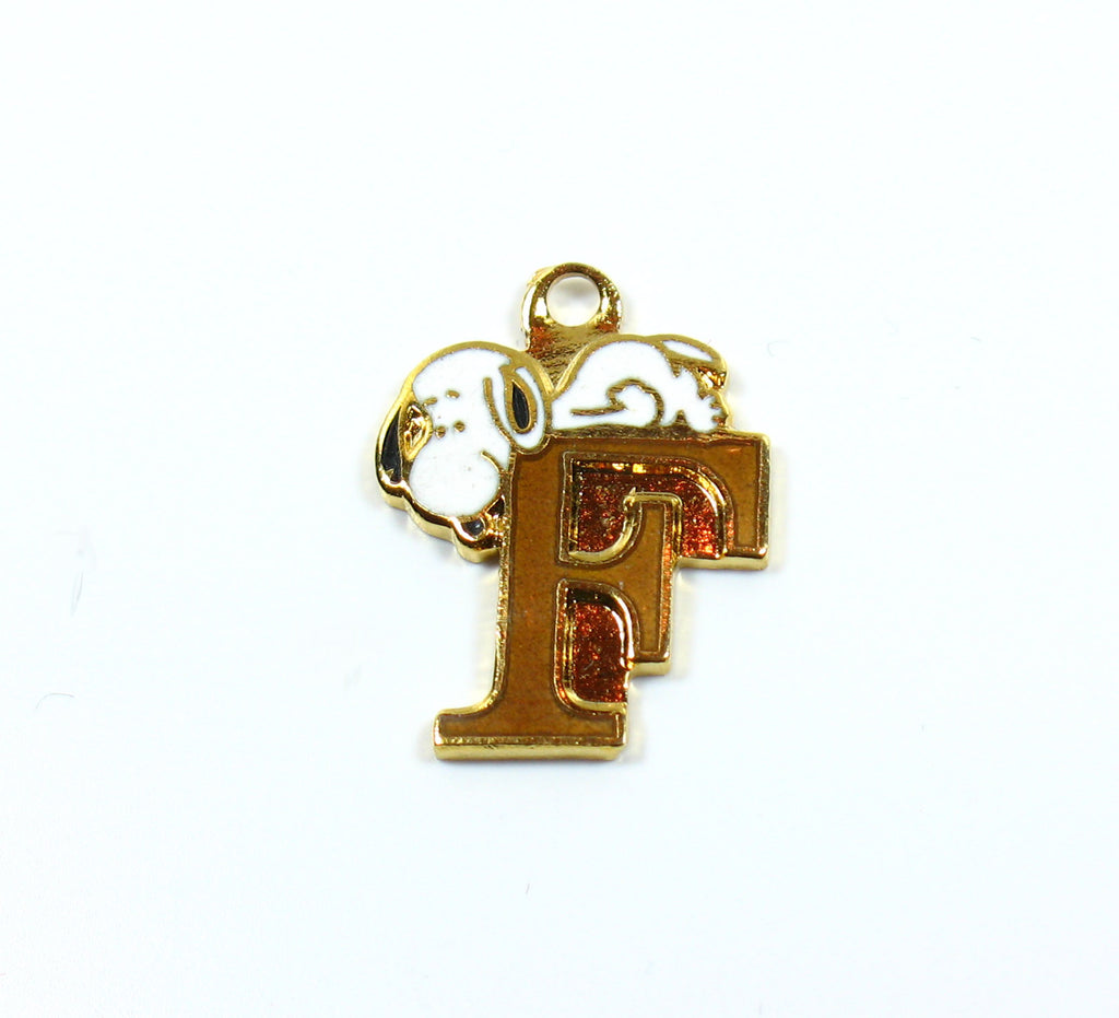 "Snoopy Alphabet Cloisonne Charm - Gold ""F"