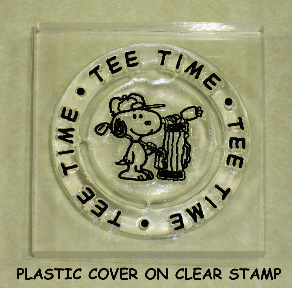 Peanuts Clear Vinyl Stamp On Thick Acrylic Block -  Tee Time