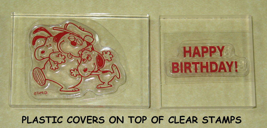 Peanuts Clear Vinyl Stamp Set On Thick Acrylic Blocks -  Happy Birthday Snoopy, Olaf, and Belle