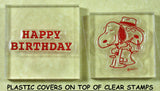 Peanuts Clear Vinyl Stamp Set On Thick Acrylic Blocks -  Happy Birthday/Spike and Snoopy