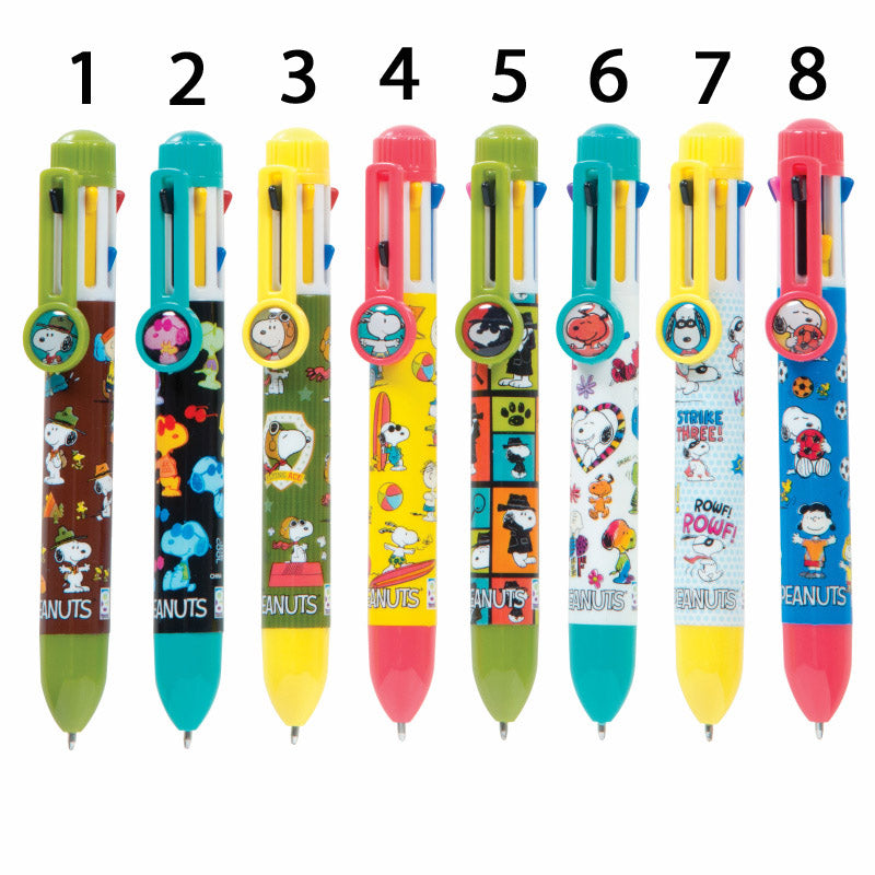 Peanuts 8-Color Pen With Clip Charm