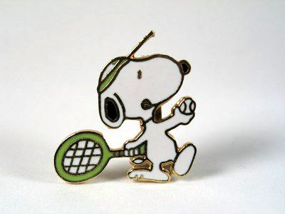 Snoopy Tennis Player Cloisonne Pin