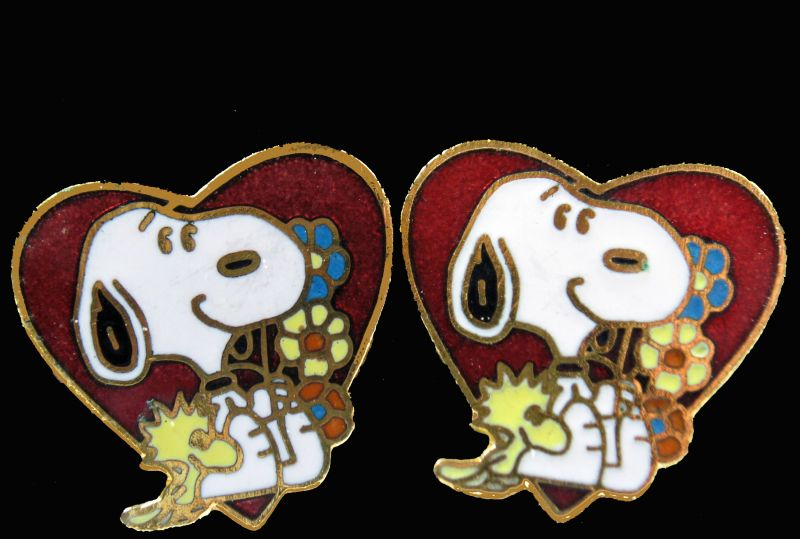 Snoopy Hearts Cloisonne Post Earrings