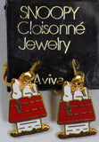 Snoopy's Doghouse Cloisonne Clip-On Earrings