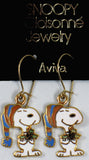 Snoopy Holding Holly Leaves Cloisonne Latch Back Earrings