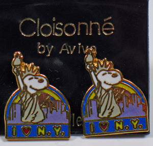 """I Love New York"" Snoopy Cloisonne Post Earrings"