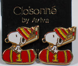 Snoopy Hockey Player Cloisonne Post Earrings