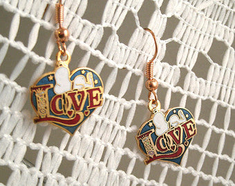 Snoopy LOVE Cloisonne Latch Back Earrings